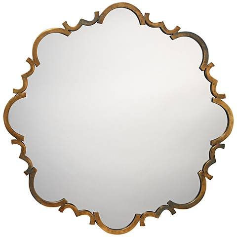 """Jamie Young Saint Albans Aged Gold 38"""" Round Wall Mirror"""