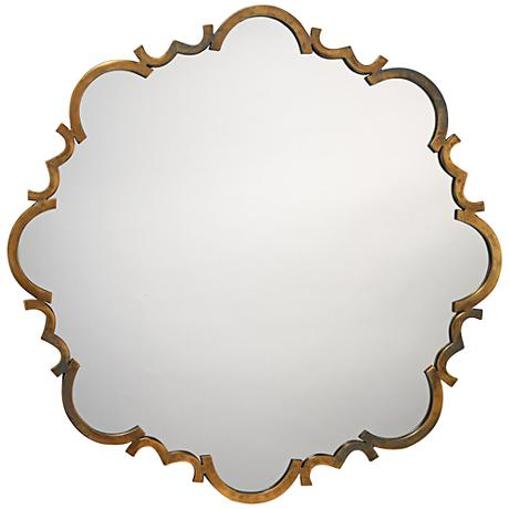 "Jamie Young Saint Albans Aged Gold 38"" Round Wall Mirror"