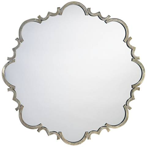 "Jamie Young Saint Albans Silver 38"" Round Wall Mirror"