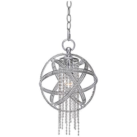 "Cascade 9 1/2"" Wide Silver Leaf 1-Light Mini Pendant"