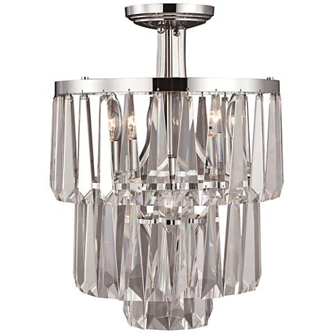 "Raffinato Polished Nickel 14 1/2""W Crystal Ceiling Light"