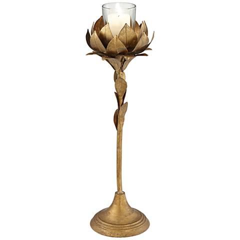 Hourtin Leaf Gold Iron Medium Votive Candle Holder