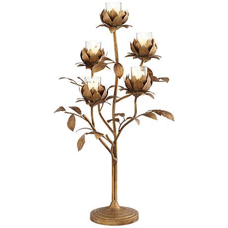 Suring Leaf Gold Votive Candle Holder