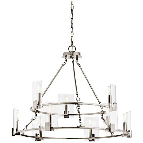 "Kichler Signata 32 3/4"" Wide Pewter 9-Light Chandelier"