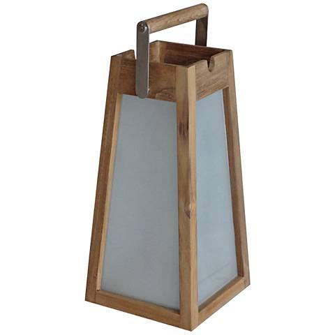 """Teka Teak 15"""" High Pyramid LED Solar Lantern"""