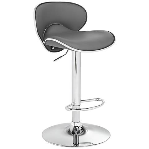 Daly Gray Faux Leather Swivel Adjustable Barstool