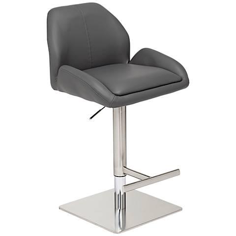 Austin Gray Faux Leather Chrome Base Adjustable Barstool