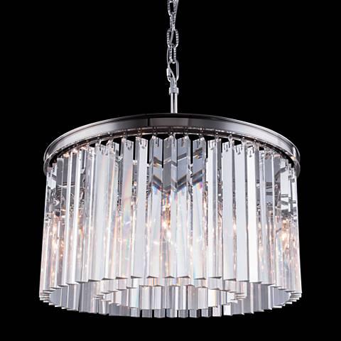 "Sydney Polished Nickel 26"" Wide Crystal Pendant Light"