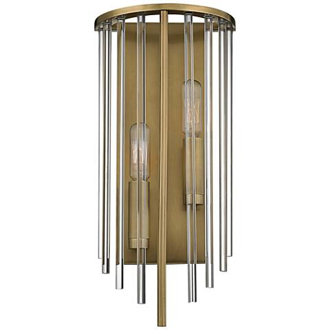 "Hudson Valley Lewis 15"" High Aged Brass Wall Sconce"