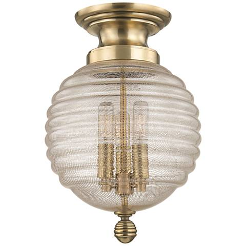 "Hudson Valley Coolidge 10"" Wide Aged Brass Ceiling Light"