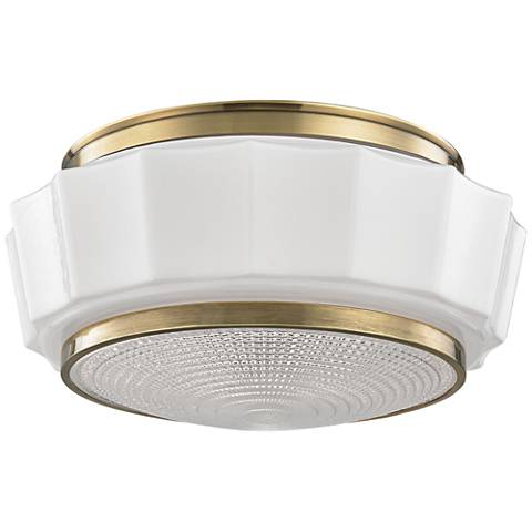 "Hudson Valley Odessa 13 1/2"" Wide Aged Brass Ceiling Light"