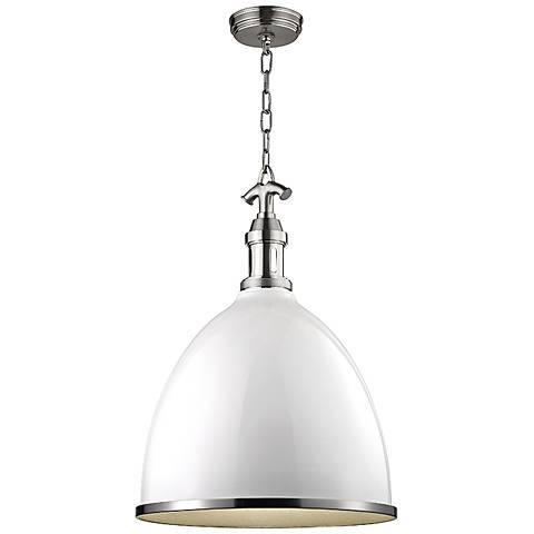 "Viceroy 16 3/4"" W Satin Nickel White Shade Pendant Light"