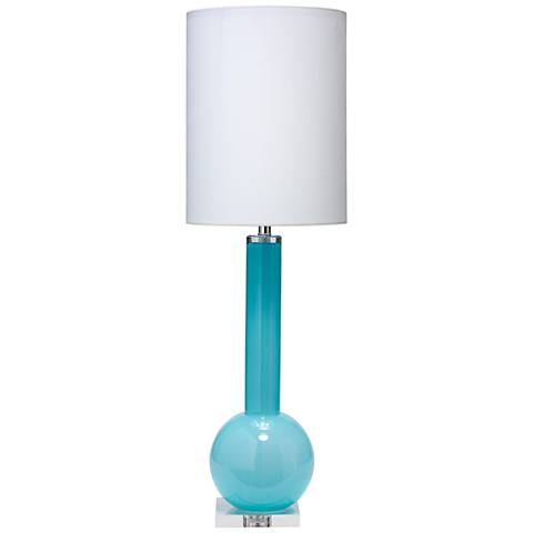 Jamie Young Studio Breeze Blue Glass Tall Vase Table Lamp