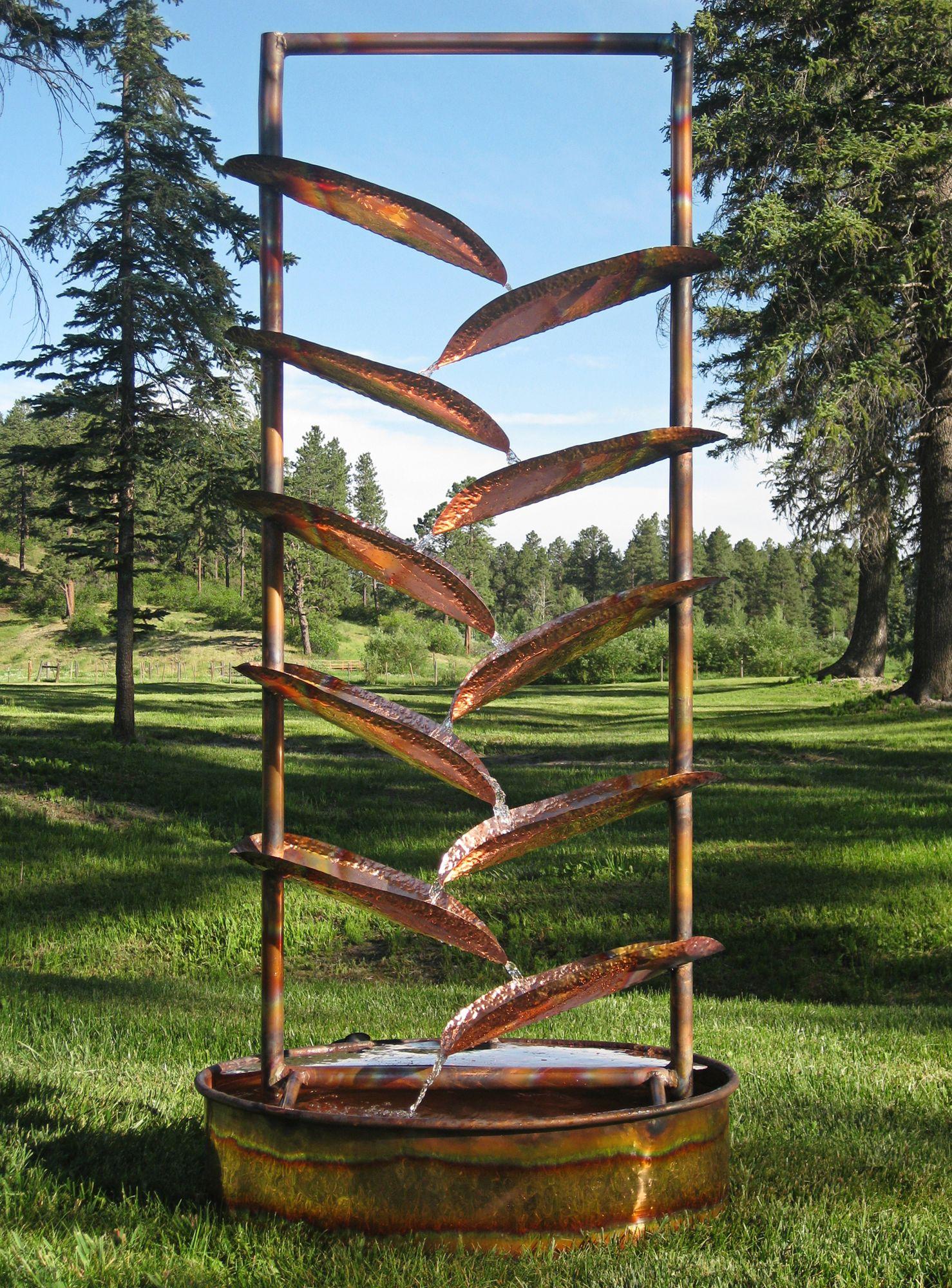 trellis 72u0027 high sculptural copper outdoor fountain