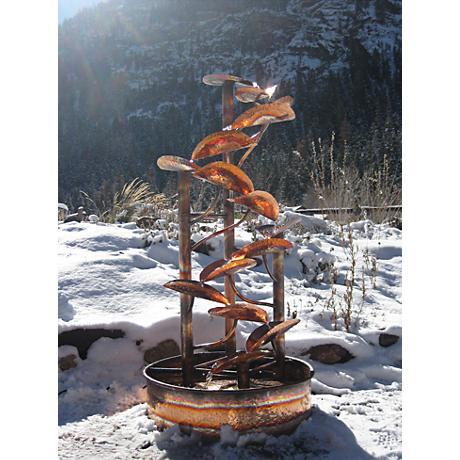 "Helix 60"" High Rustic Sculptural Copper Outdoor Fountain"