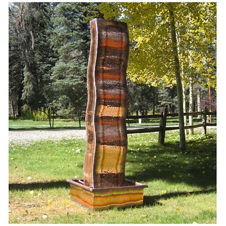 "Flame 72"" High Sculptural Copper Outdoor Fountain"