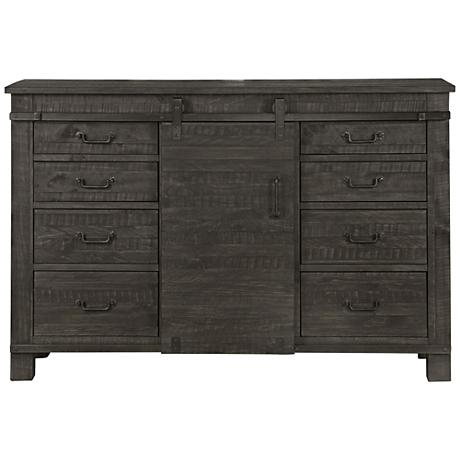 Abington 8-Drawer Weathered Charcoal Pine Wood Server