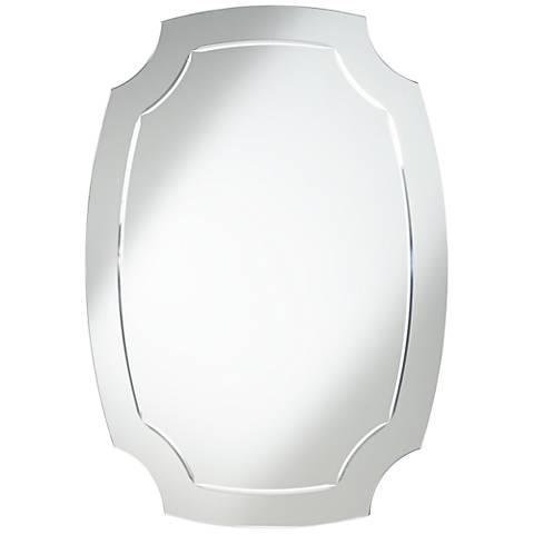 "Pajaro Black 39 1/2""x27 1/2"" Oval Cut Wall Mirror"