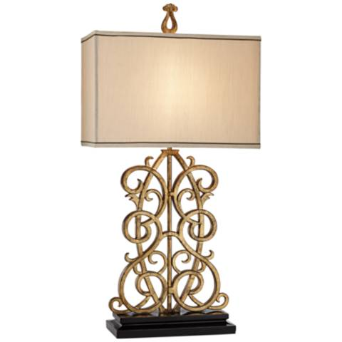 Jardin gate antique gold leaf scroll table lamp 1k760 lamps plus - Table jardin vintage montpellier ...