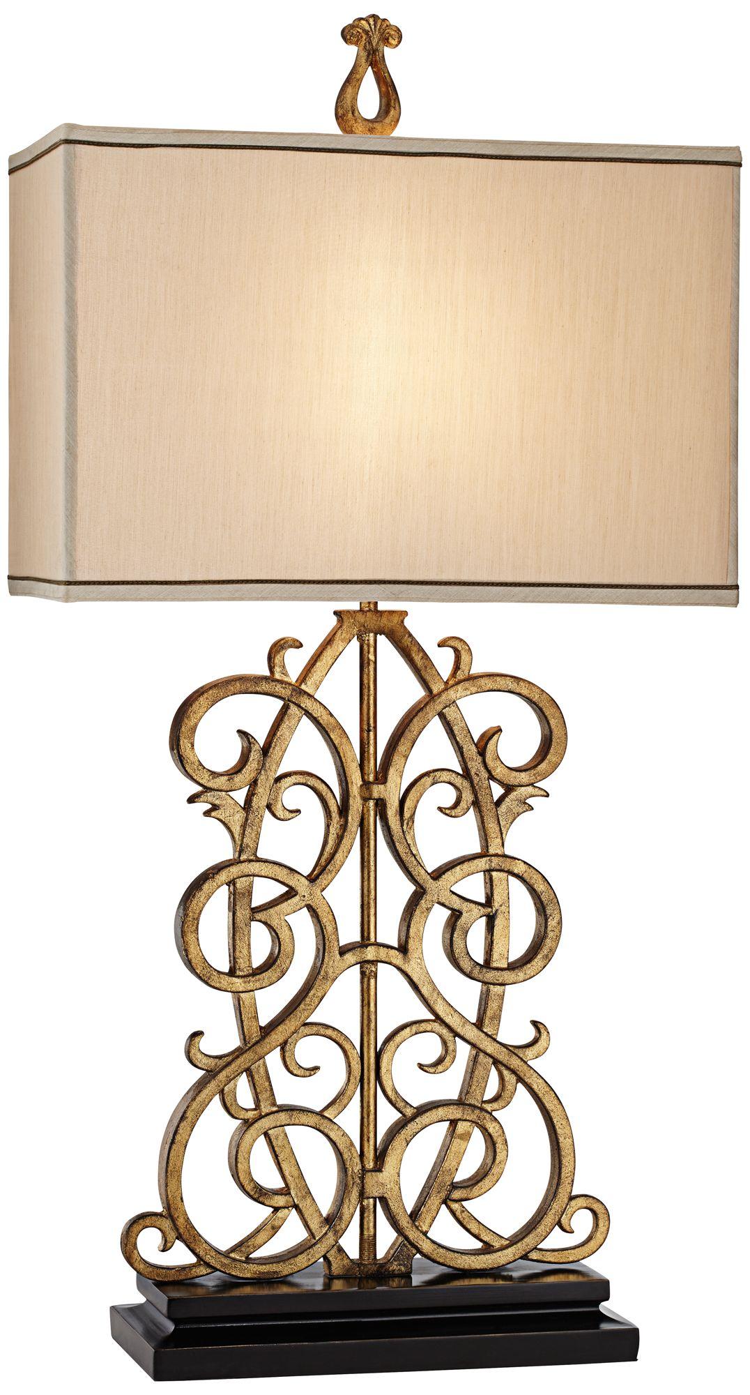 Jardin Gate Antique Gold Leaf Scroll Table Lamp