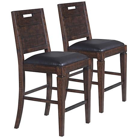 Pine Hill Rustic Pine Wood Counter Height Chair Set of 2