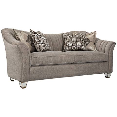 "Bette Channel-Sewn 38 3/4"" High Pewter Gray Chenille Sofa"