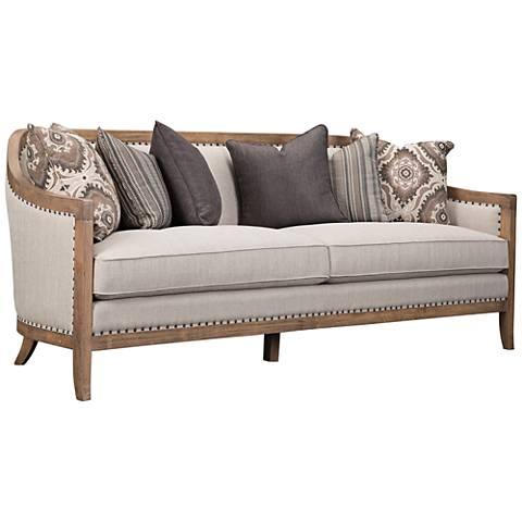 "Colburn 87"" Wide Curved Taupe Linen Sofa"