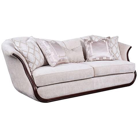 "Swan 93"" Wide Velvet Sofa with Wood Trim"