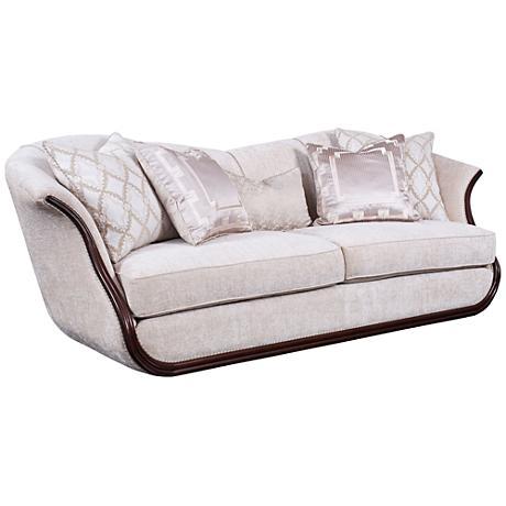 Swan Velvet Sofa with Wood Trim