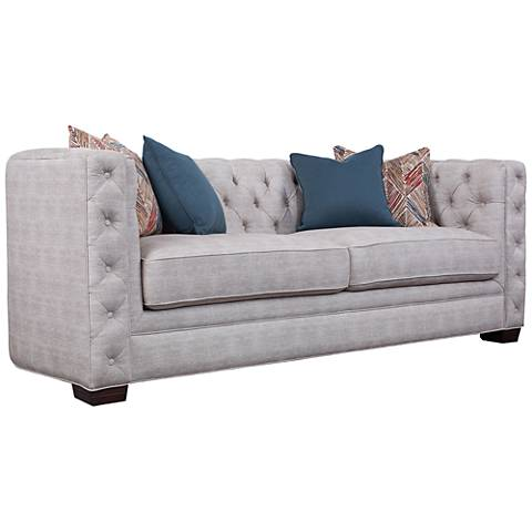 "Kirby Button-Tufted 88 1/2"" Wide Ivory Chenille Sofa"