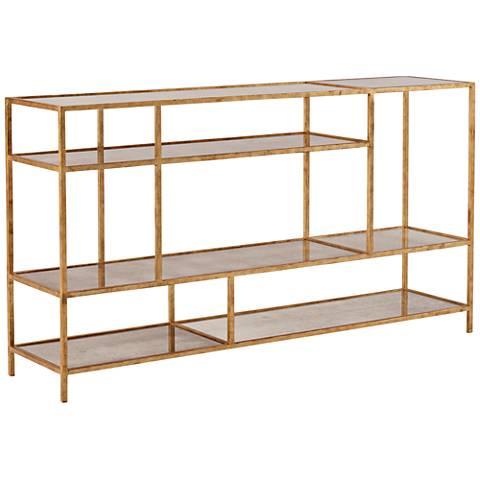 Dwell Studio Mansfield Gold Etagere w/ Antique Mirror Shelves