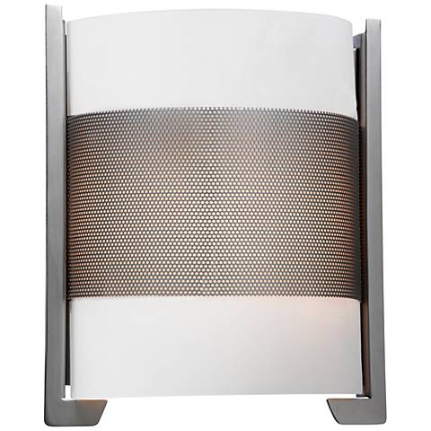 "Iron 11 3/4"" High Brushed Steel Wall Sconce w/ Opal Glass"