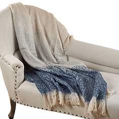 tri colored design blue throw blanket - Decorative Throws