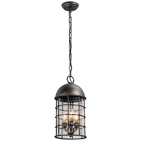 "Charlemagne 17""H Aged Pewter Outdoor Hanging Light"