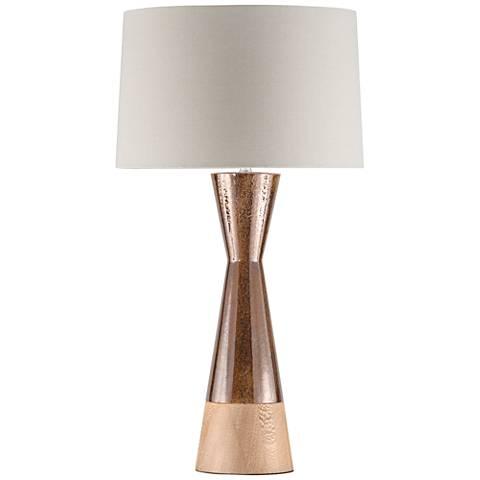 Nova Borden Wood and Bronze Ceramic Table Lamp