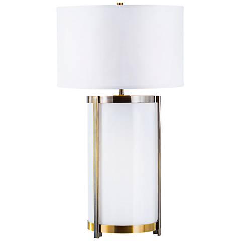 Nova Hokkaido Weathered Brass and Opal Glass Table Lamp