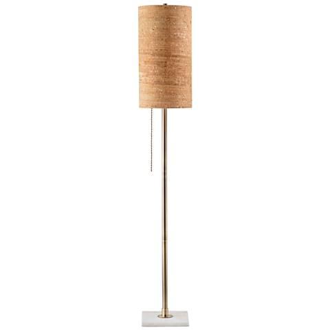 Nova Lollipop Weathered Brass Gold Cork Shade Floor Lamp