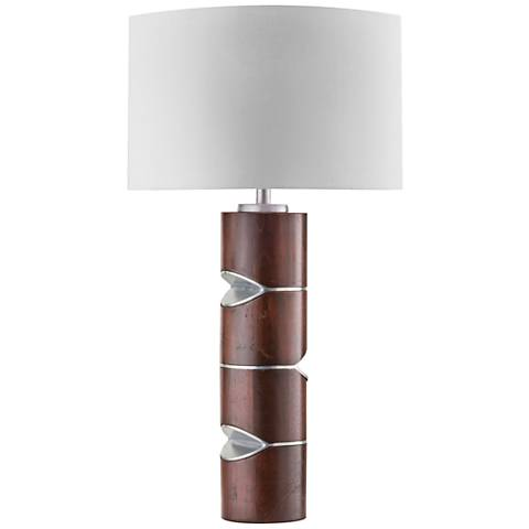 Nova Pacman Caribbean Walnut and Nickel Table Lamp