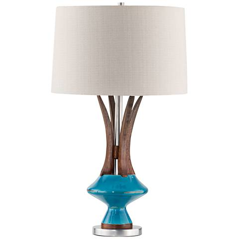Nova Reina Caribbean Walnut and Turquoise Table Lamp