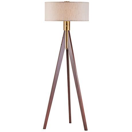 Nova Tripod Medium Brown Wood Floor Lamp