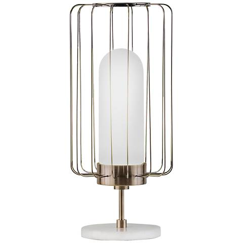 Nova Watson Weathered Brass Caged Shade Table Lamp