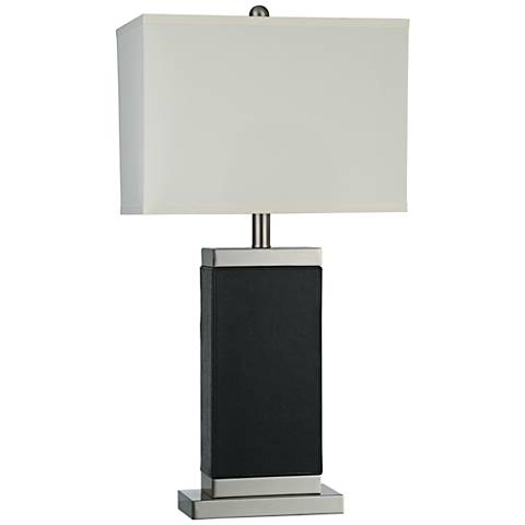 Thumprints Boden Textured Black Leather Table Lamp