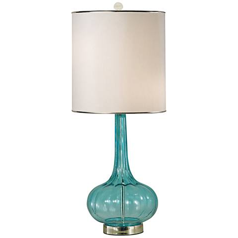 Thumprints Isabella Turquoise Blown Glass Table Lamp