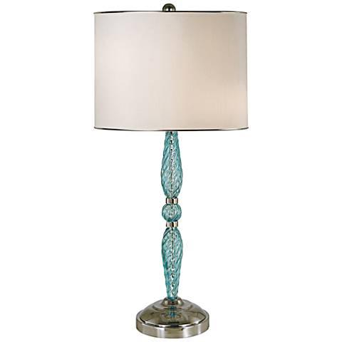 Thumprints Juliet Turquoise Blown Glass Table Lamp