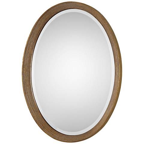 "Uttermost Arena Golden Leaf 20 3/4""x 28 1/2"" Oval Mirror"