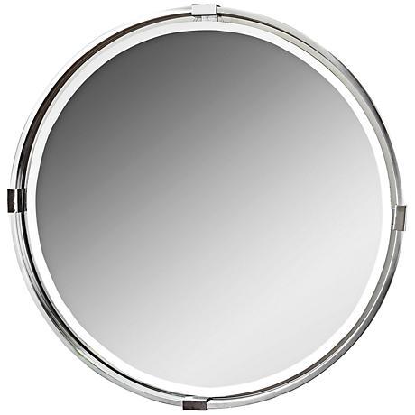 "Uttermost Tazlina Brushed Nickel 29 1/2"" Round Wall Mirror"