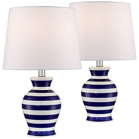 "Camden Blue and White Stripe 19"" Ceramic Table Lamp Set of 2"
