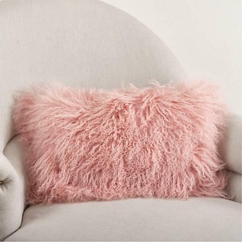 """Mongolian Pink Fur 20""""x12"""" Lumbar Pillow"""