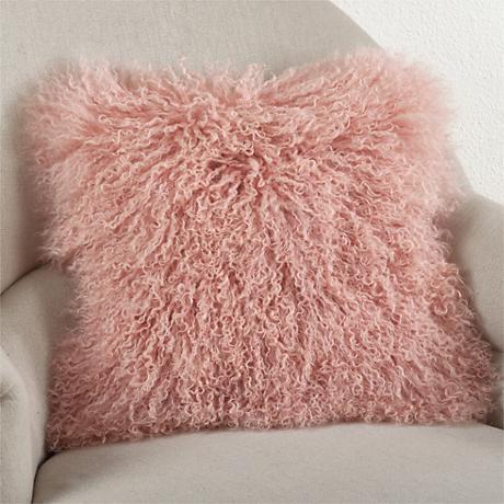 "Mongolian Pink Fur 16"" Square Decorative Pillow"