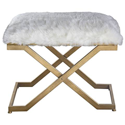 Uttermost Farran White Faux Fur Small Industrial Bench